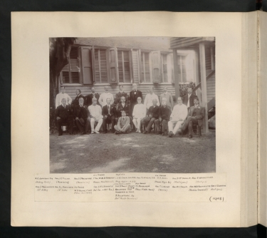 Photograph of Leeward Islands Commissioners, 1908, which includes image of W. B. Davidson-Houston, Commissioner of Montserrat. TNA CO 1069/411, No. 30. Reproduced by permission of the Caribbean through a Lens project, The National Archives, UK