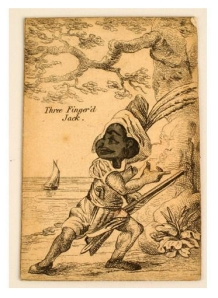 Three Finger'd Jack, playing card, cardboard, 6 x 9.5 cm, dated 1750-1800, The New-York Historical Society Museum and Library. Image courtesy of The New-York Historical Society Museum and Library http://www.nyhistory.org/