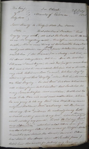 First page of Minutes of Evidence from the trial of Polydore at St Dorothy Special Slave Court, 1831. TNA CO 137/209, folio 370. Click to enlarge. Courtesy of The National Archives, UK.