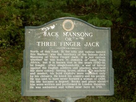 Jack Mansong or Three Finger Jack Roadside Marker, Jamaica National Trust Commission, St. Thomas, Jamaica